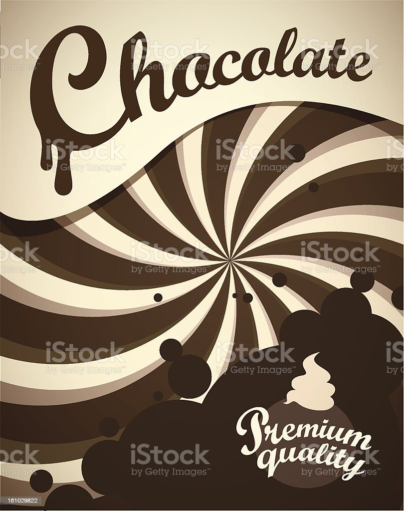 Background flyer template of chocolate label vector art illustration