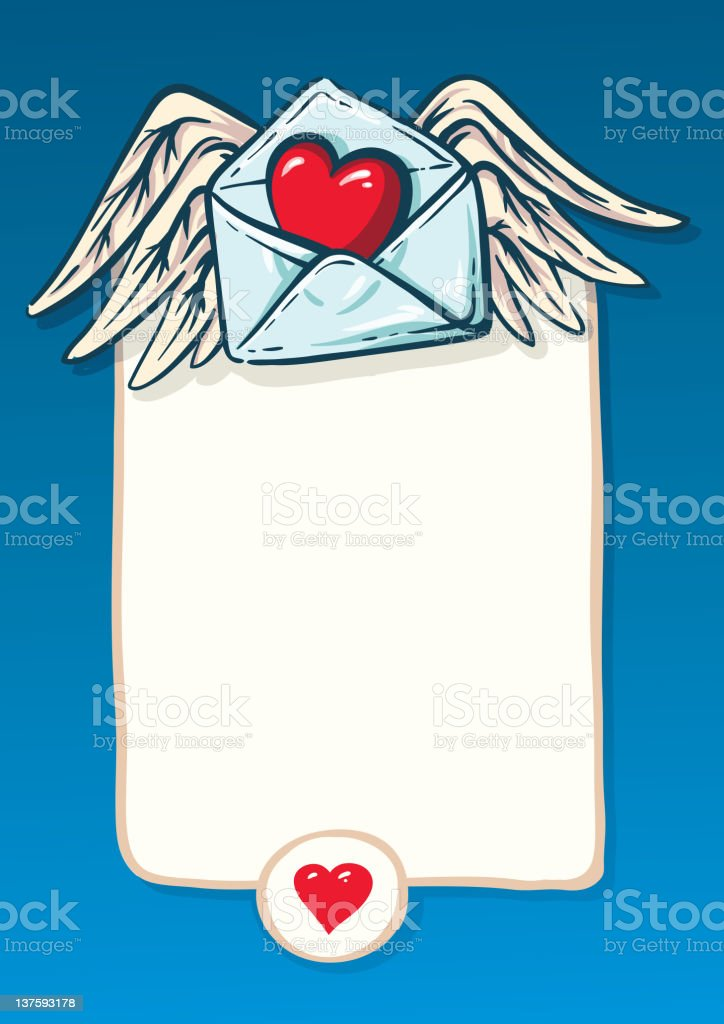 background for a love letter. convention, the heart and wings royalty-free stock vector art