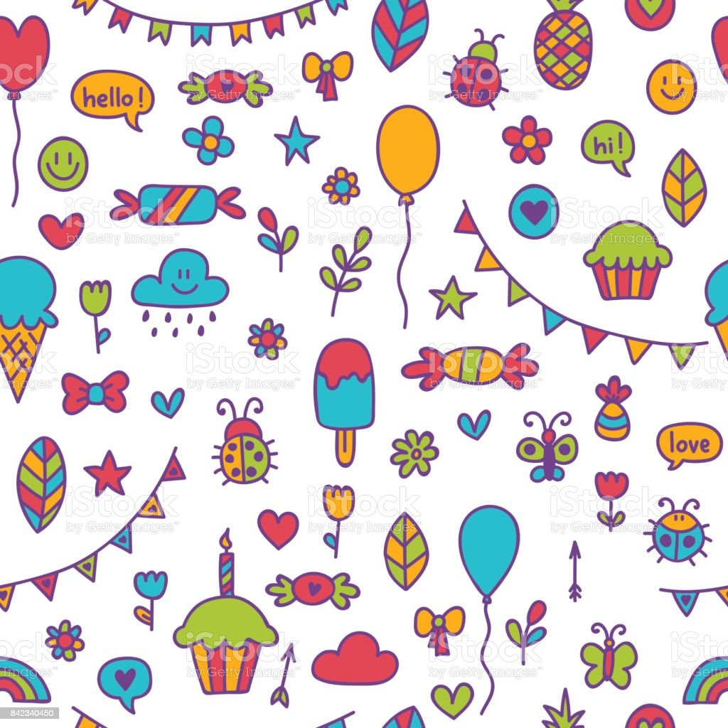 Background For Cute Little Boys And Girls Hand Drawn Children ...