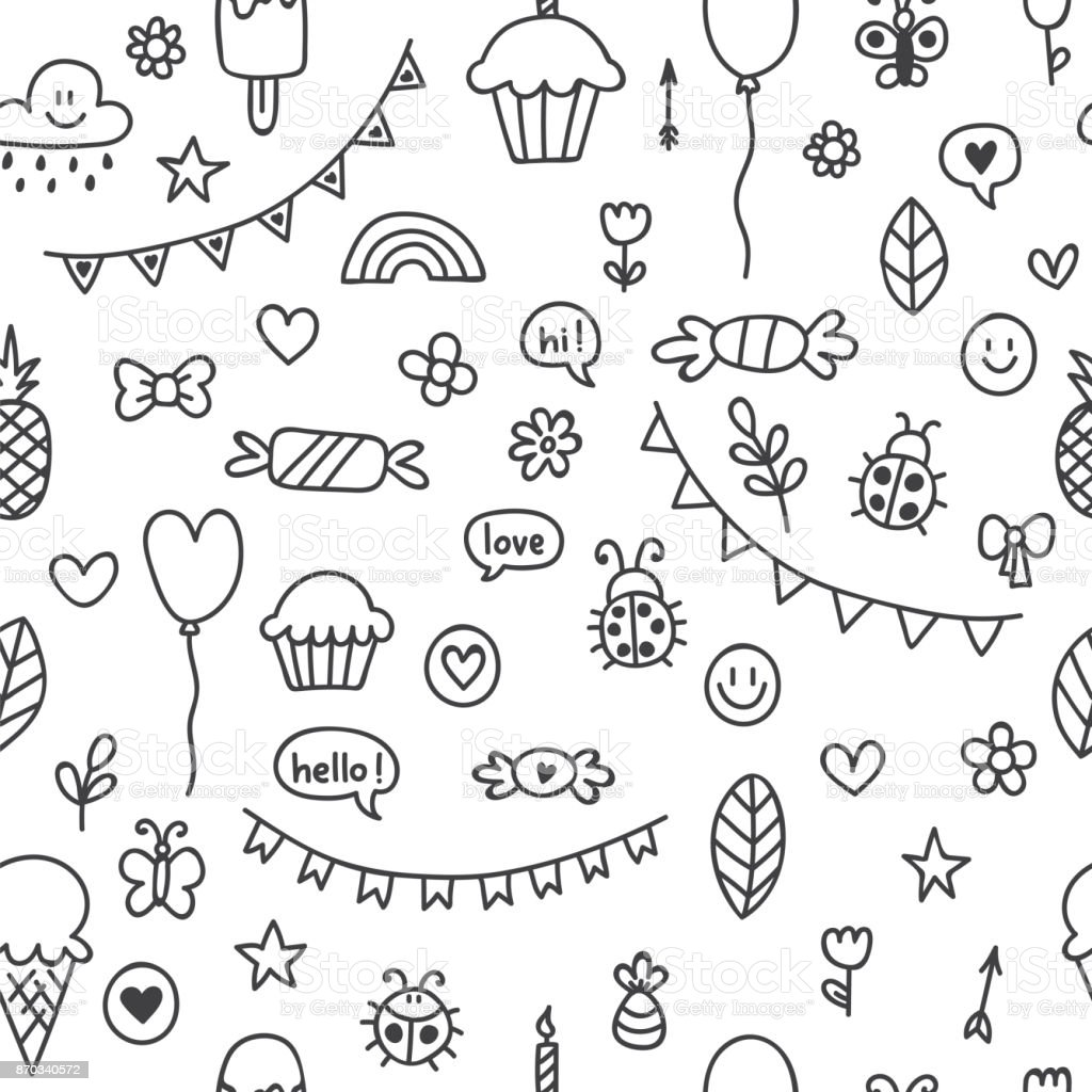 Background For Cute Little Boys And Girls Hand Drawn Children