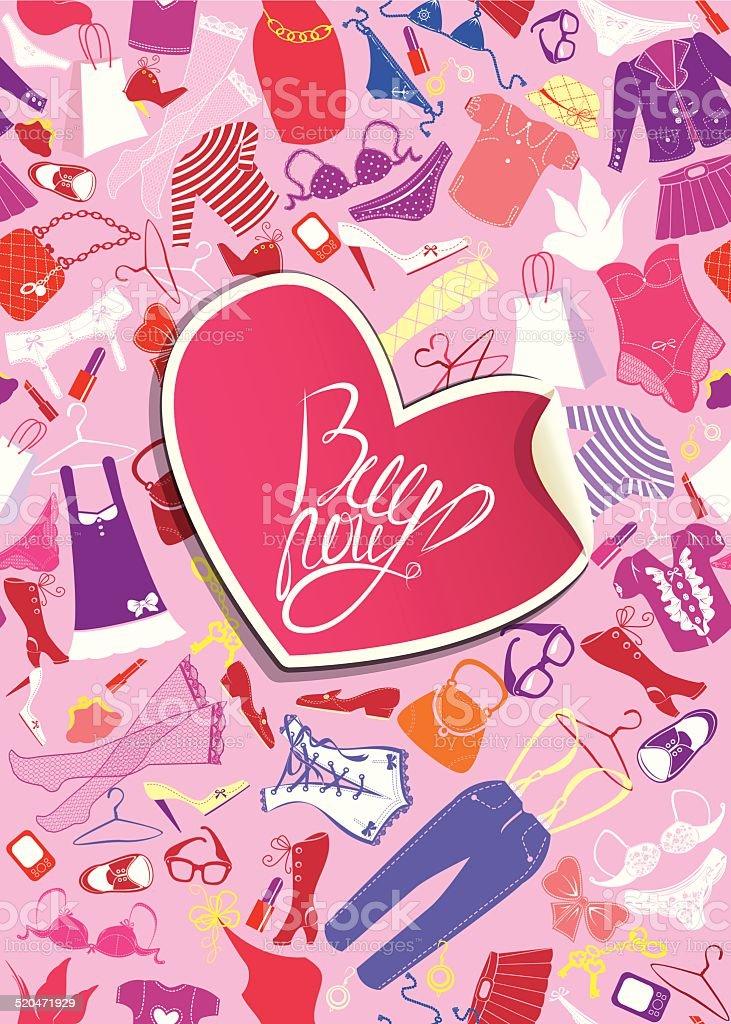 5289779f4000 Ilustración de Fondo Para El Diseño De Moda Corazón Bastidor ...
