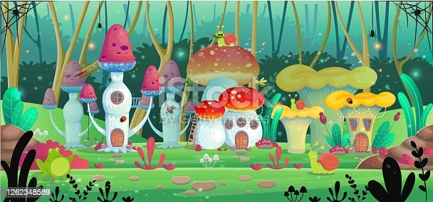 Background for games and mobile applications. Mushroom houses. Vector illustration.