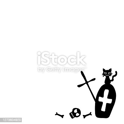 istock Background for Halloween. Grave in a cemetery, tombstone with a smiling black cat sitting on it. Vector decorative element in cartoon flat style, black silhouette isolated 1273834920