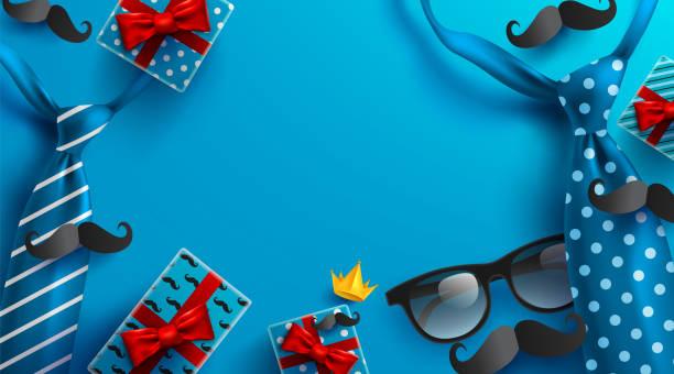 hintergrund für glückliche vatertag mit krawatte, gläser und geschenk-box für ihren vater. grüße und geschenke. vektor-illustration eps10 - elternhochzeitsgeschenke stock-grafiken, -clipart, -cartoons und -symbole