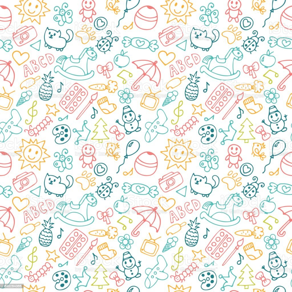 Background for little boys and girls in sketch style. Doodle vector art illustration