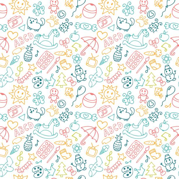 ilustrações de stock, clip art, desenhos animados e ícones de background for little boys and girls in sketch style. doodle - infância