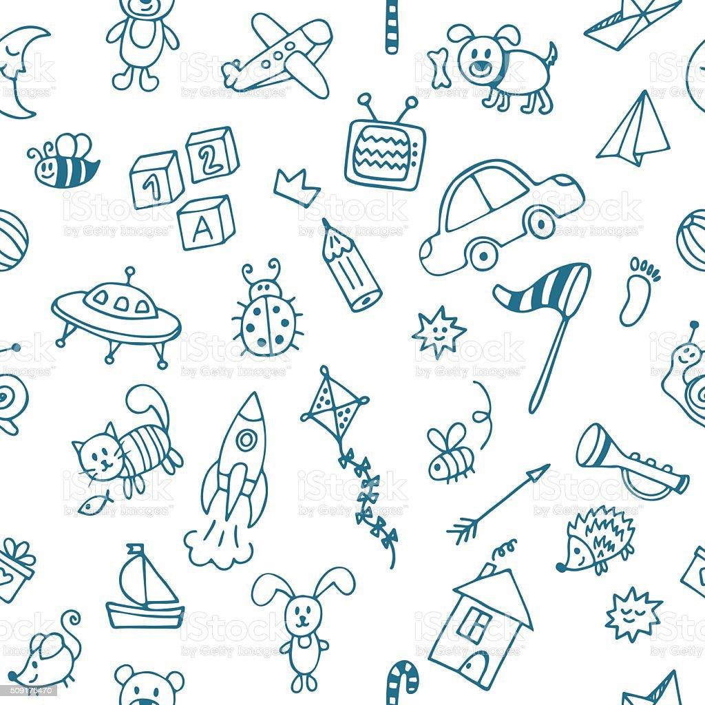 Ilustración de Fondo Para Pequeños Muchachos Mano Dibujado Niños De ...