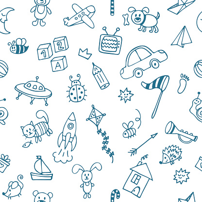 Background for little boys. Hand drawn children drawings