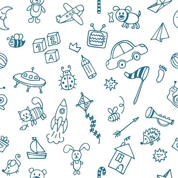 stockillustraties, clipart, cartoons en iconen met background for little boys. hand drawn children drawings - baby toy