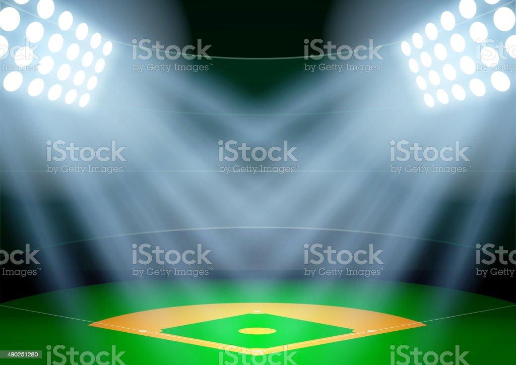 Background for posters night baseball stadium in the spotlight vector art illustration