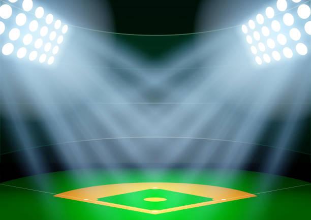 background for posters night baseball stadium in the spotlight - baseball stadium stock illustrations, clip art, cartoons, & icons