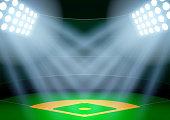 Background for posters night baseball stadium in the spotlight