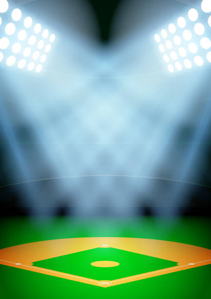 Background for posters night baseball stadium in the spotlight. Vector vector art illustration