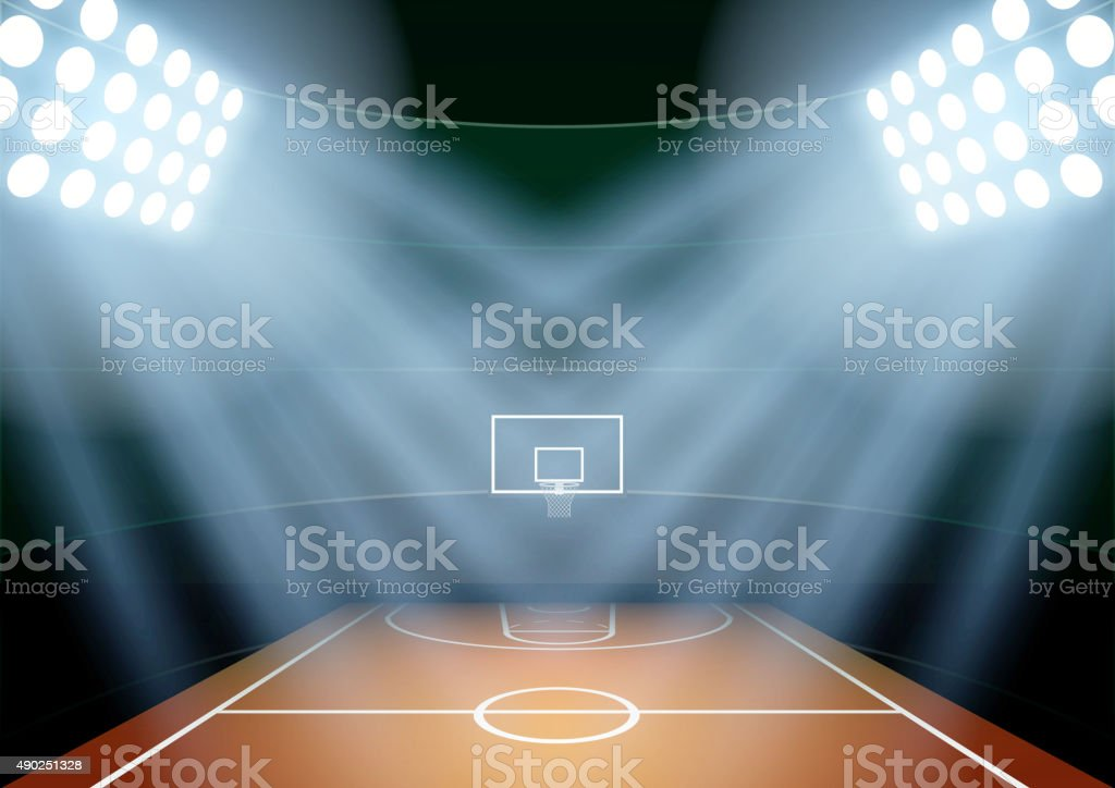 Background for posters night basketball stadium in the spotlight vector art illustration