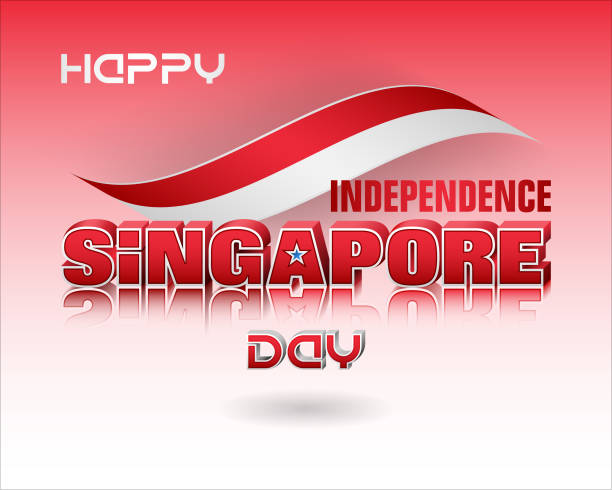 Background for Singapore, National holiday, celebration Holiday background with 3d texts, crescent moon facing a pentagon of five stars and national flag colors for ninth of August, Singapore Independence day, celebration national holiday stock illustrations