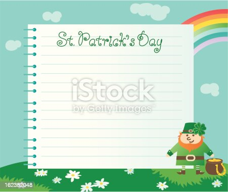 Vector  of page from spiral notebook, leprechaun, pot with gold coins on green spring  landscape.