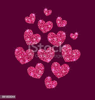 Illustration Background for Valentines Day with Shimmering Hearts - Vector