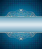 Vector illustration with a beautiful background pattern and a Frame Blue Arabesc for a copy space message