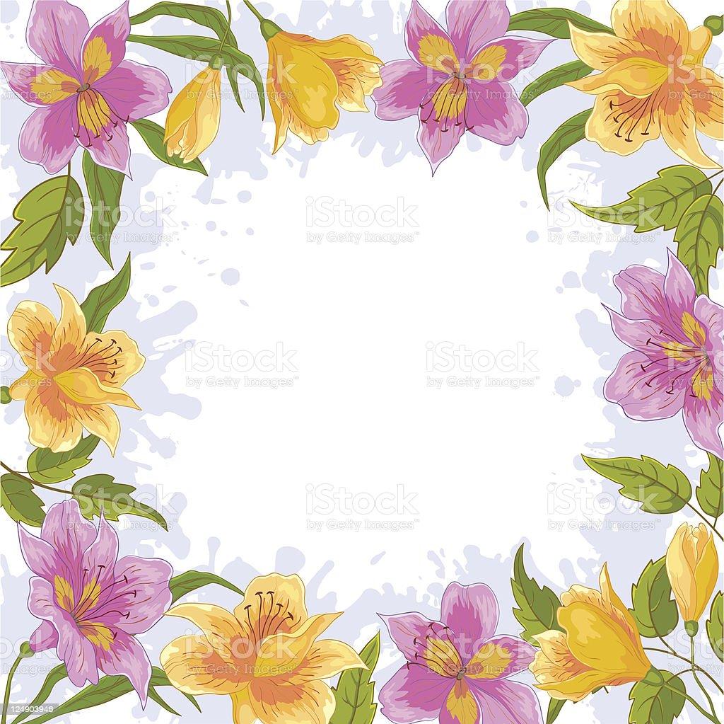 Fondo, marco de flores - ilustración de arte vectorial