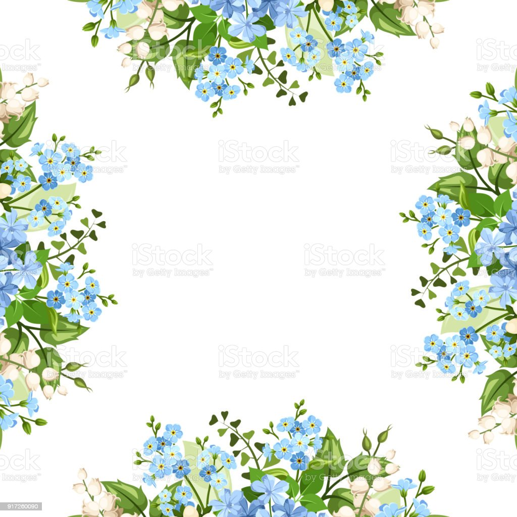 Background Frame With Blue And White Flowers Vector Illustration ...