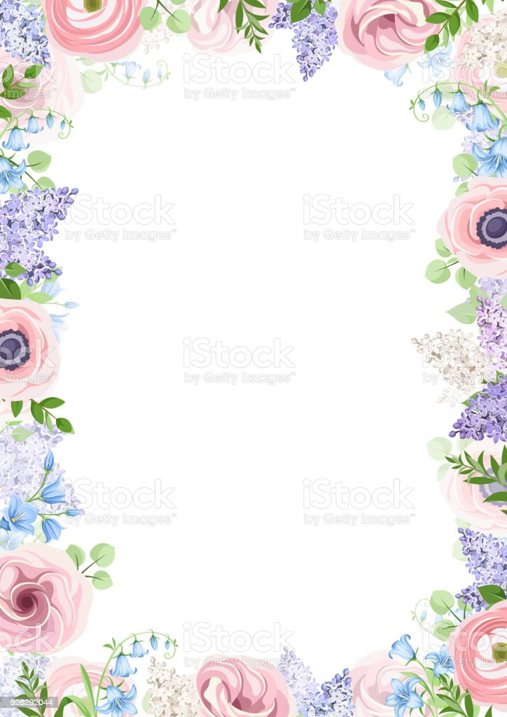 Background frame with pink blue and purple flowers vector background frame with pink blue and purple flowers vector illustration royalty free mightylinksfo