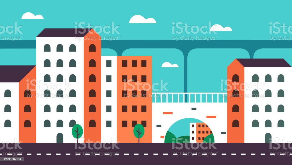 Background Geometry flat city landscape 01 vector art illustration