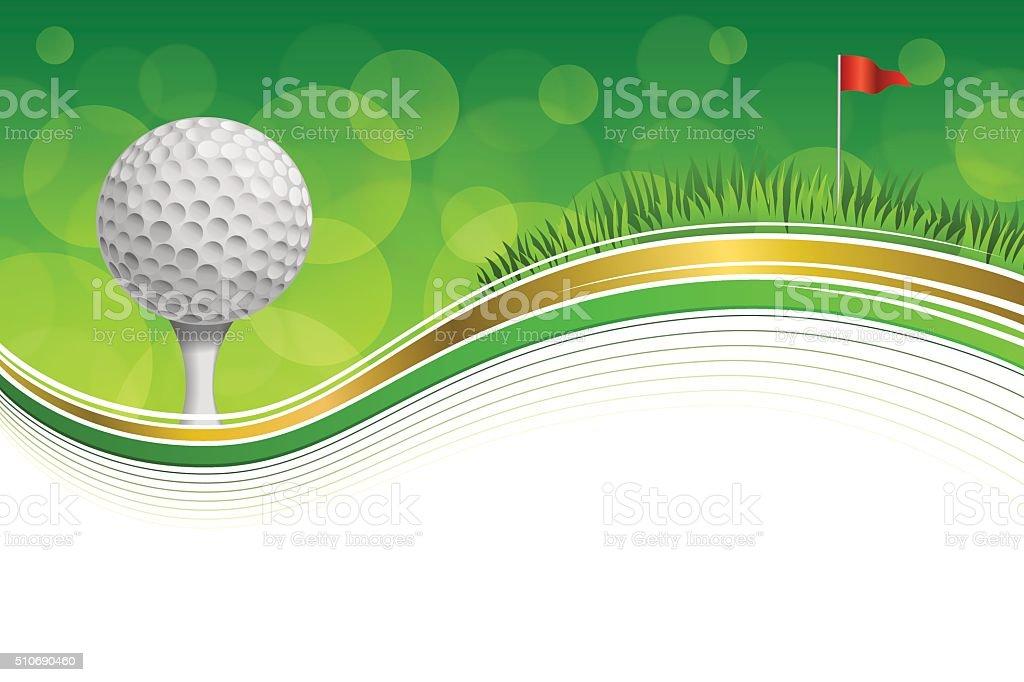 Campo de deporte verde hierba fondo bandera roja bola marco oro - ilustración de arte vectorial