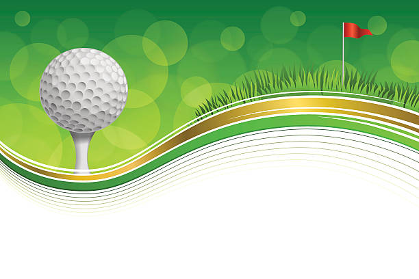 ilustrações, clipart, desenhos animados e ícones de fundo de grama verde do golfe esporte bola vermelha bandeira do quadro de ouro - golfe