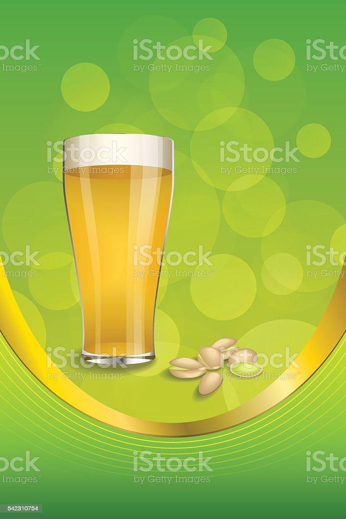 Sfondo Verde Bere Bicchiere Di Birra Pistacchi Verticali