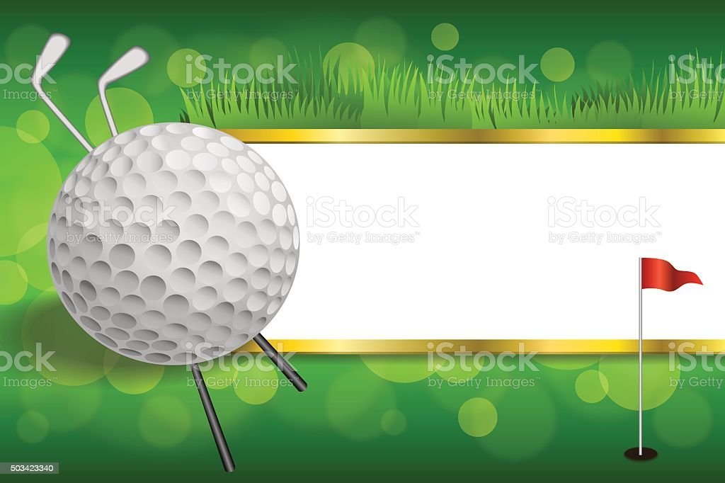 Fondo Verde Golf Club Sport Bola Bandera Roja Marco De Oro - Arte ...