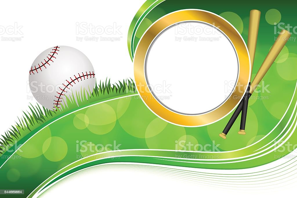 Background green grass baseball ball gold illustration vector vector art illustration