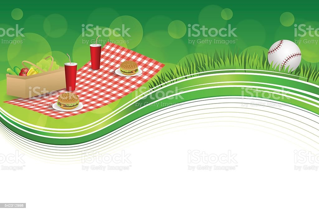 Background green grass picnic basket hamburger drink baseball ball vector vector art illustration