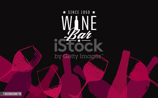 istock background illustration for wine designs. Handmade drawing of wine glasses and bottles. 1303839978