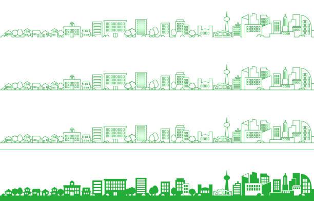 ilustrações, clipart, desenhos animados e ícones de ilustração de fundo de uma paisagem urbana simples - city