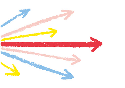 Background illustration of arrow spreading radially. vector.