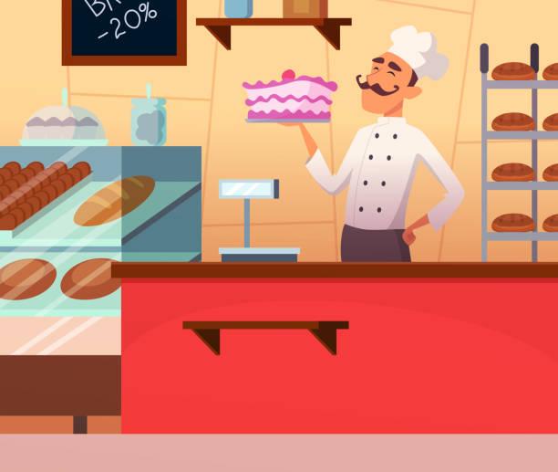 hintergrund illustration der bäcker-mann bei der arbeit - tortenständer stock-grafiken, -clipart, -cartoons und -symbole