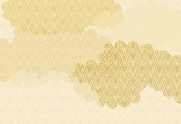 Background illustration of clouds lined with Japanese patterns of waves. vector art illustration
