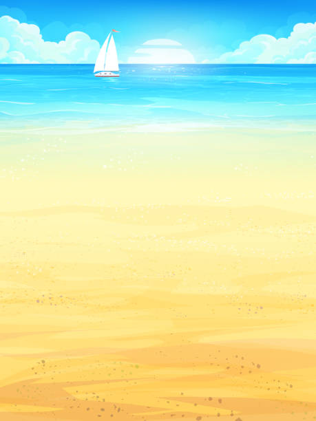 Background illustration summer vacation with sun, sea, sky, beach, boat Background summer vacation with sun, sea, sky, beach, boat. Creative design for print summer cards, invitations, brochures, posters. Vector illustration. beach backgrounds stock illustrations