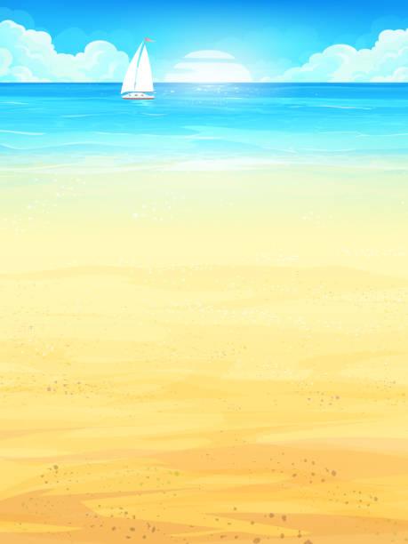 ilustraciones, imágenes clip art, dibujos animados e iconos de stock de ilustración de fondo vacaciones de verano con sol, mar, cielo, playa, barco - arena