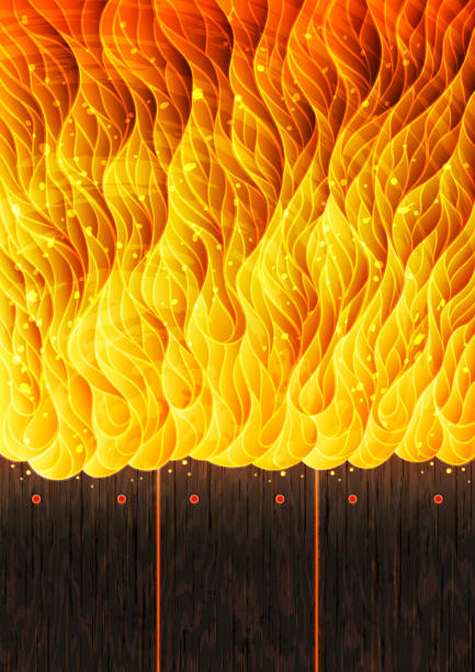 Background illustration with fire and burning wooden boards vector art illustration