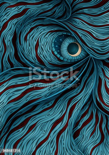 istock Background illustration with mystic monster eye 948481314