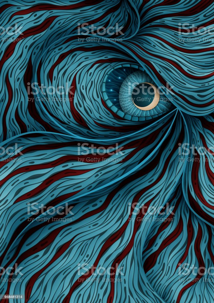 Background illustration with mystic monster eye vector art illustration