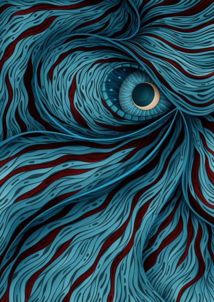 Background illustration with mystic monster eye vector art illustration