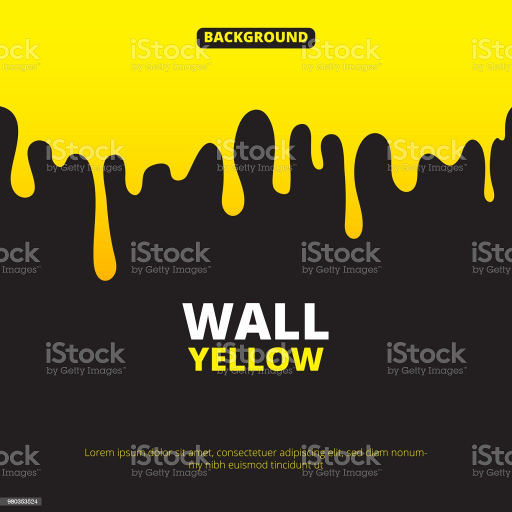 Background illustration with yellow paint dripping vector art illustration