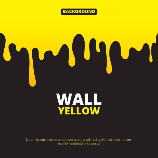 illustrazioni stock, clip art, cartoni animati e icone di tendenza di background illustration with yellow paint dripping - sciroppo