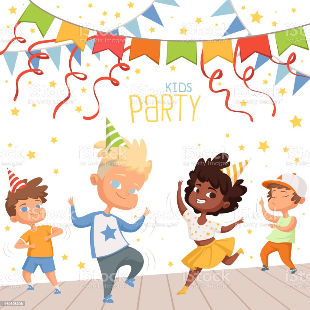 Background Illustrations At Childrens Dance Party Template Of Poster For Kids Invitation Royalty Free