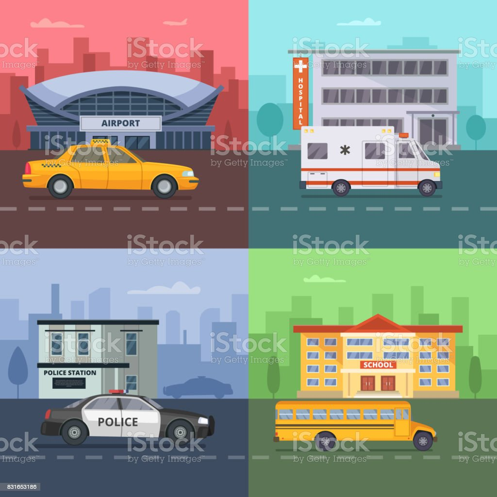 Background illustrations with different municipal transport vector art illustration