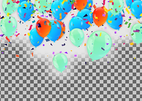 Background image for celebrating blue balloons and anniversaries, use in New Year, use as postcards to make greeting cards.