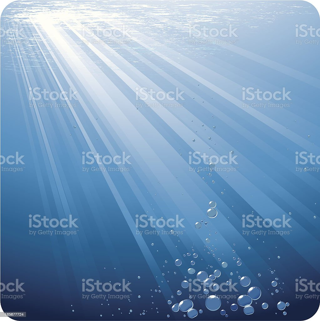 Background image of blue water under sun rays with bubbles vector art illustration