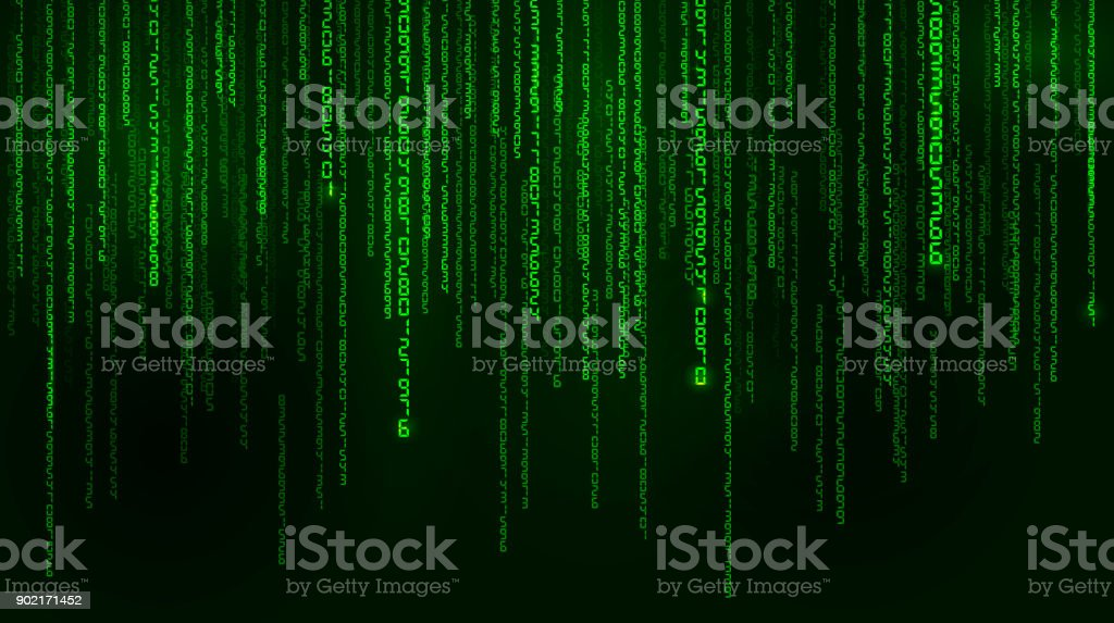 Background In A Matrix Style Falling Random Numbers Green Is